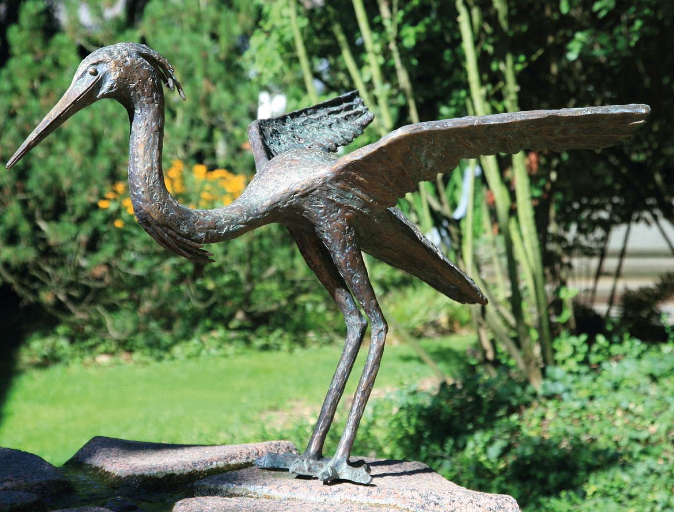 """Gartenskulptur """"Fischreiher"""", Bronze"""