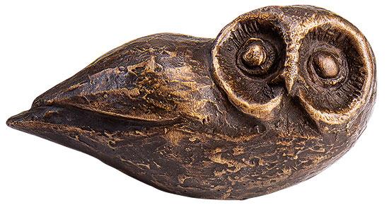 "Miniatur-Skulptur ""Liegende Eule"", Bronze"