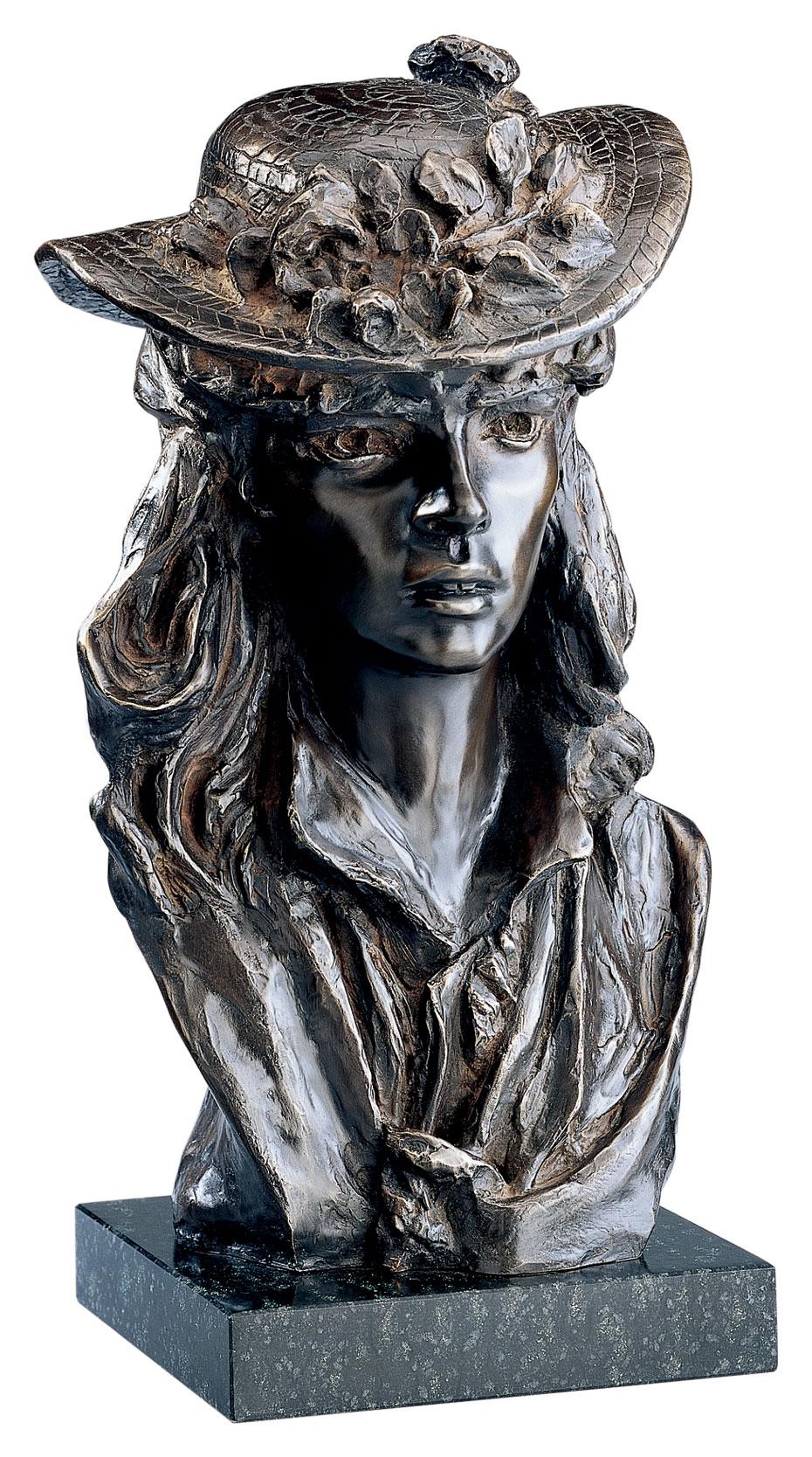 """Skulptur """"Das Mädchen mit dem Rosenhut"""", Version in Bronze"""