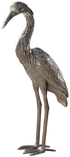 """Gartenskulptur """"Graureiher-Männchen"""", Bronze"""