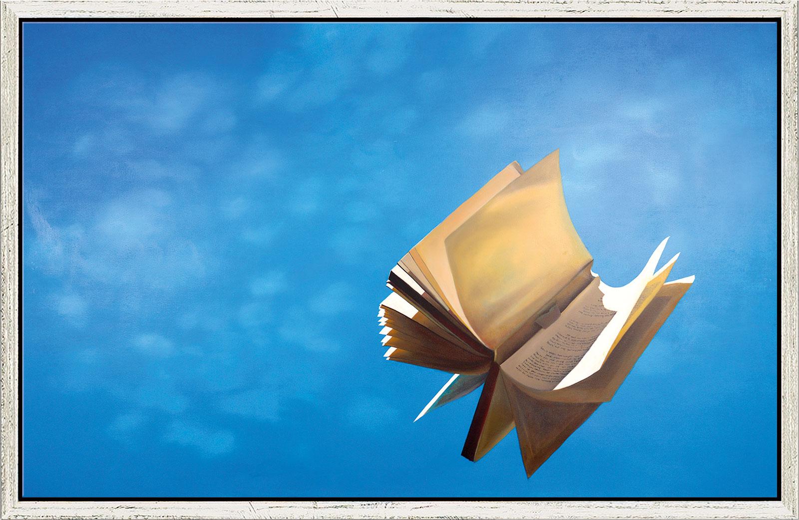 """Bild """"Das fliegende Buch"""", gerahmt"""