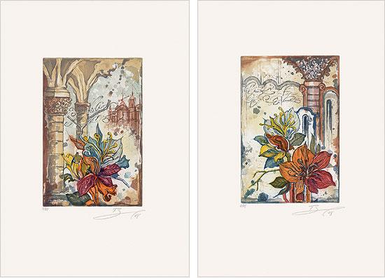 """2 Bilder """"Blüte mit Säule links/rechts"""" (2008) im Set"""