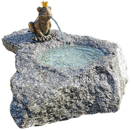 """Gartenbrunnen """"Froschkönig"""" aus Bronze/Stein"""