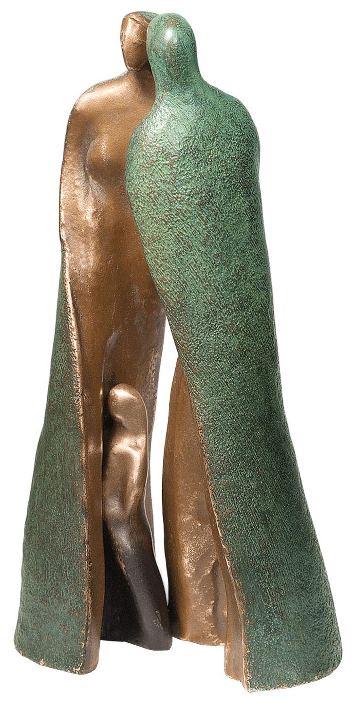 """3-teilige Skulptur """"Familie"""", Bronze"""