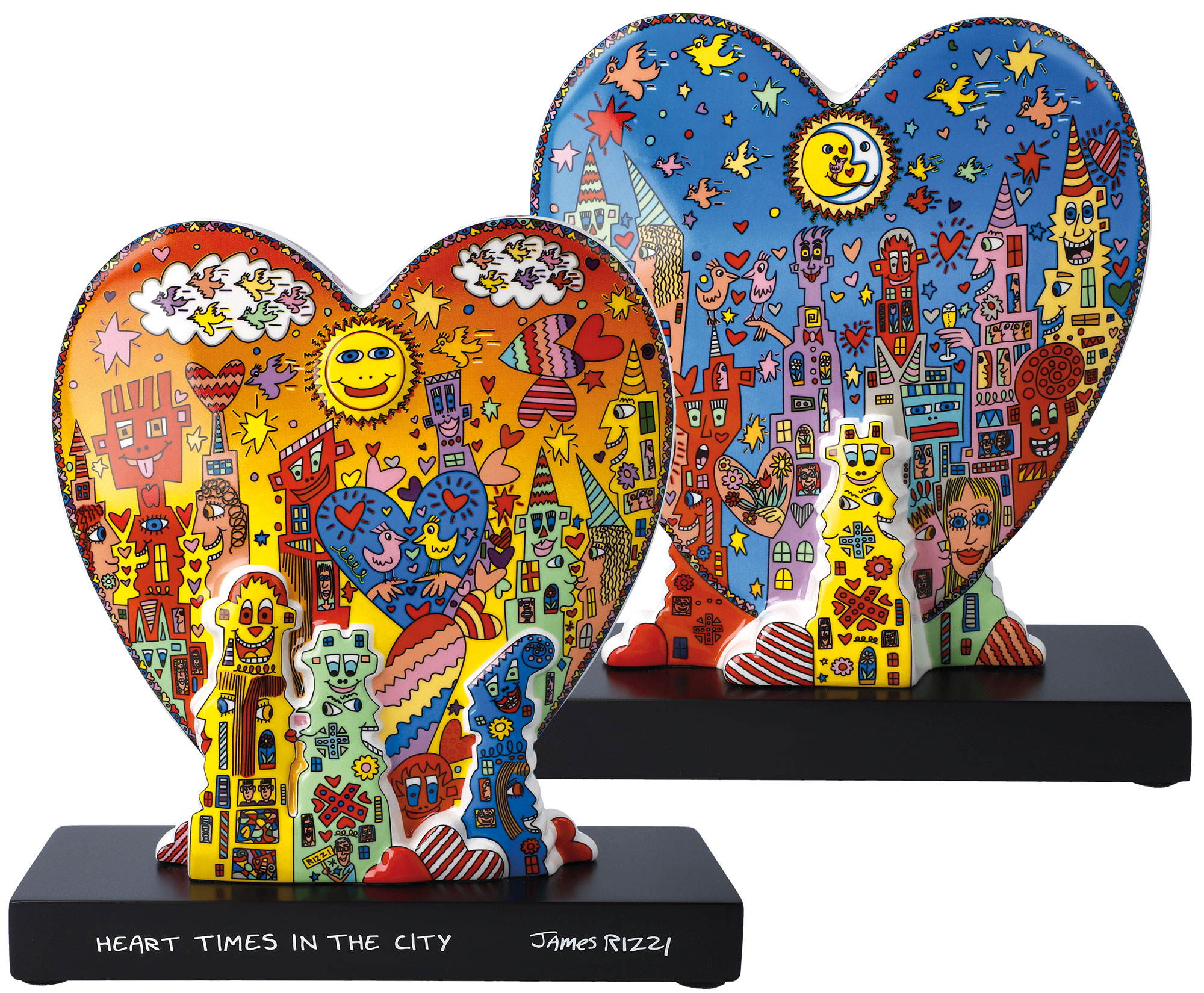 "Doppelseitige Porzellanskulptur ""Heart Times in the City"""