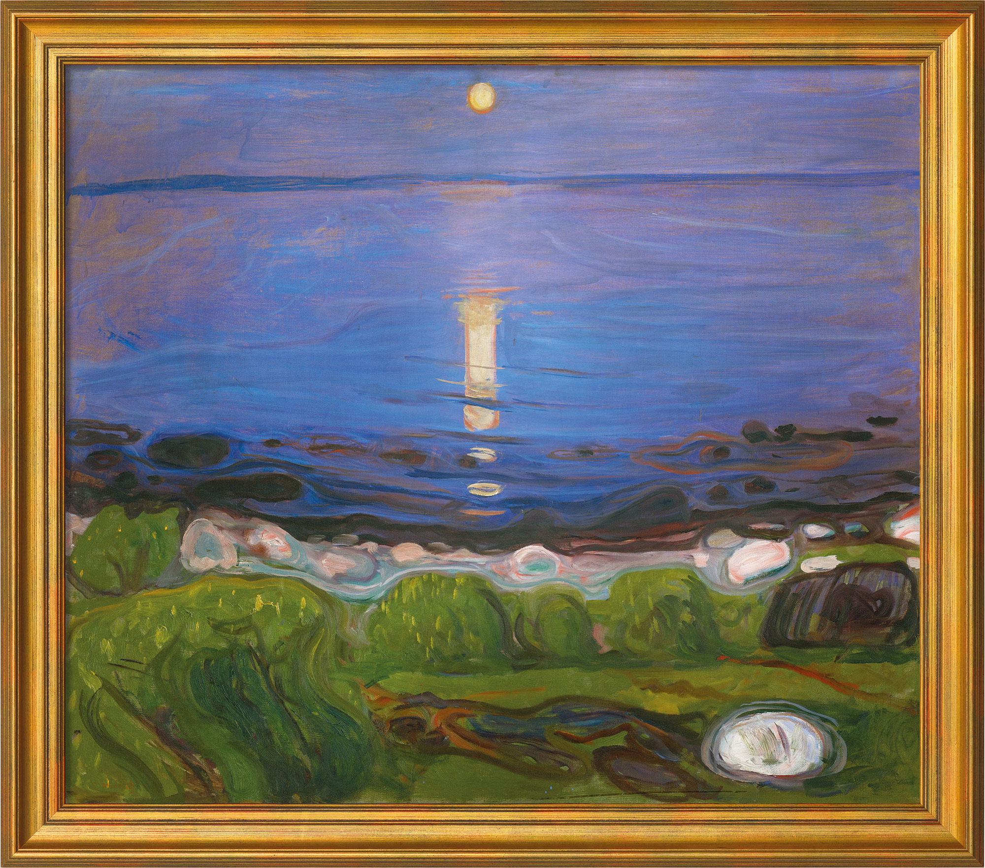 """Bild """"Eine Sommernacht am Strand"""" (1902), gerahmt"""