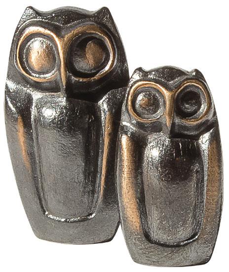 """Skulpturen-Set """"Eulenpaar"""", Bronze"""
