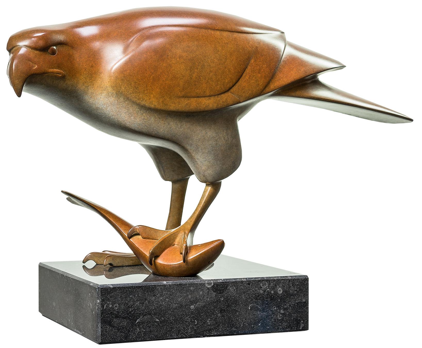 """Skulptur """"Raubvogel mit Fisch Nr. 3"""", Bronze braun"""