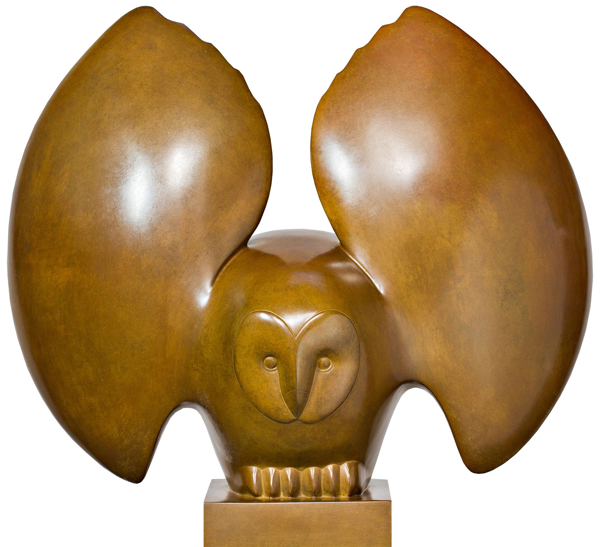 "Skulptur ""Landende Eule Nr. 4"", Bronze braun"