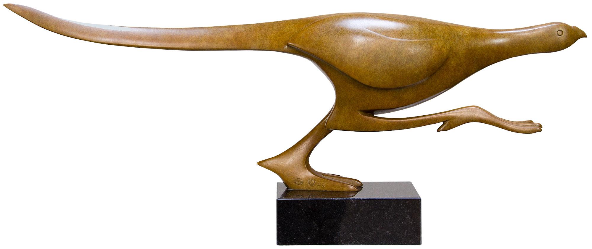 """Skulptur """"Rennender Fasan"""", Bronze braun"""