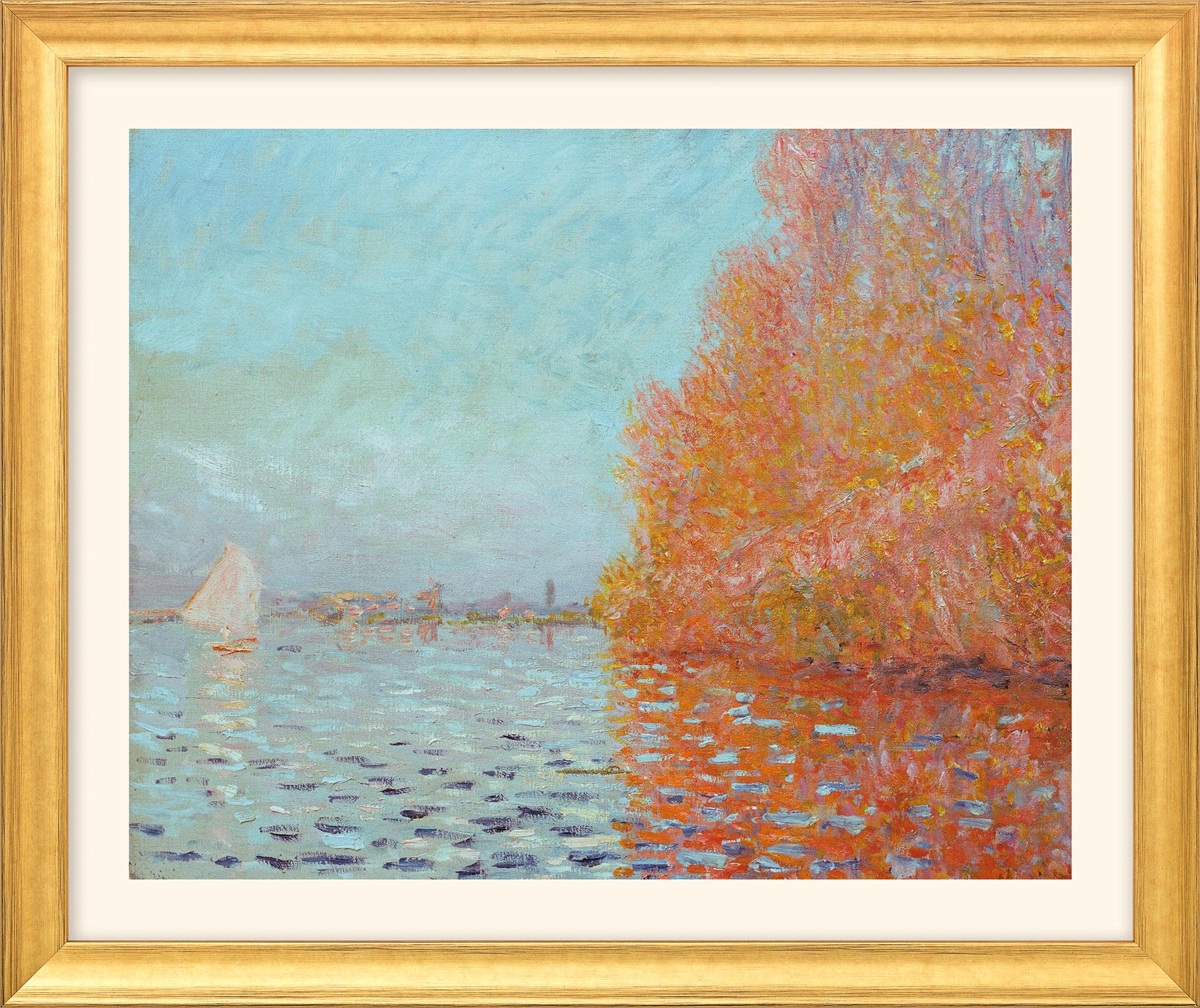 """Bild """"Die Bucht von Argenteuil mit einem Segelboot"""" (1874), Version goldfarben gerahmt"""