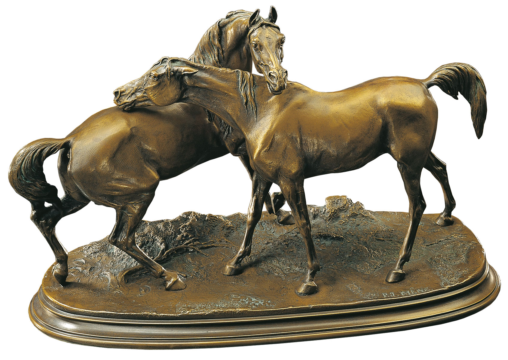 "Pferdeskulptur ""Die Umarmung"", Kunstbronze"