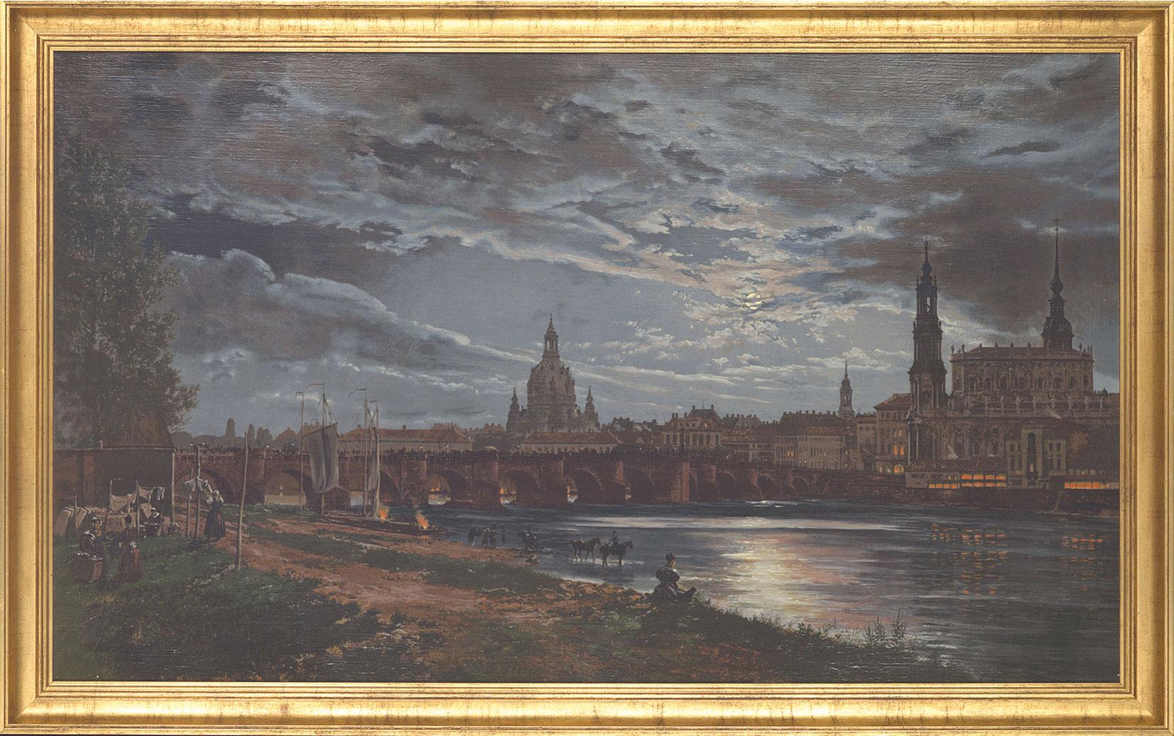 """Bild """"Blick auf Dresden bei Vollmond"""" (1839), gerahmt"""