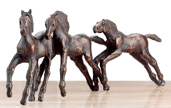 "Skulpturengruppe ""Drei Fohlen im Frühling"", Bronze"