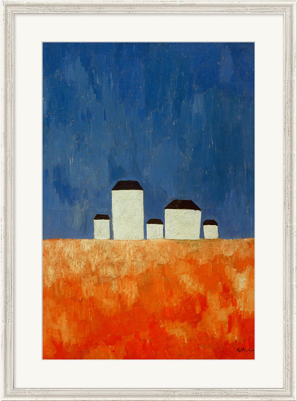 """Bild """"Landschaft mit fünf Häusern"""" (1928/29), gerahmt"""