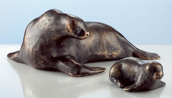 """Skulpturen """"Seehund"""" und """"Heuler"""" im Set, Bronze"""