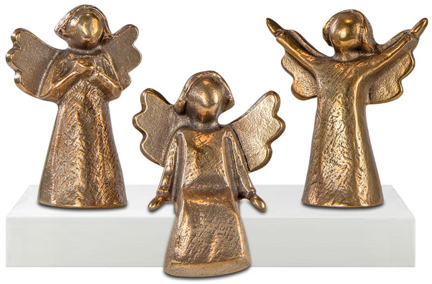 """3-teiliges Miniatur-Skulpturenset """"Bronzeengel"""" (ohne Deko)"""