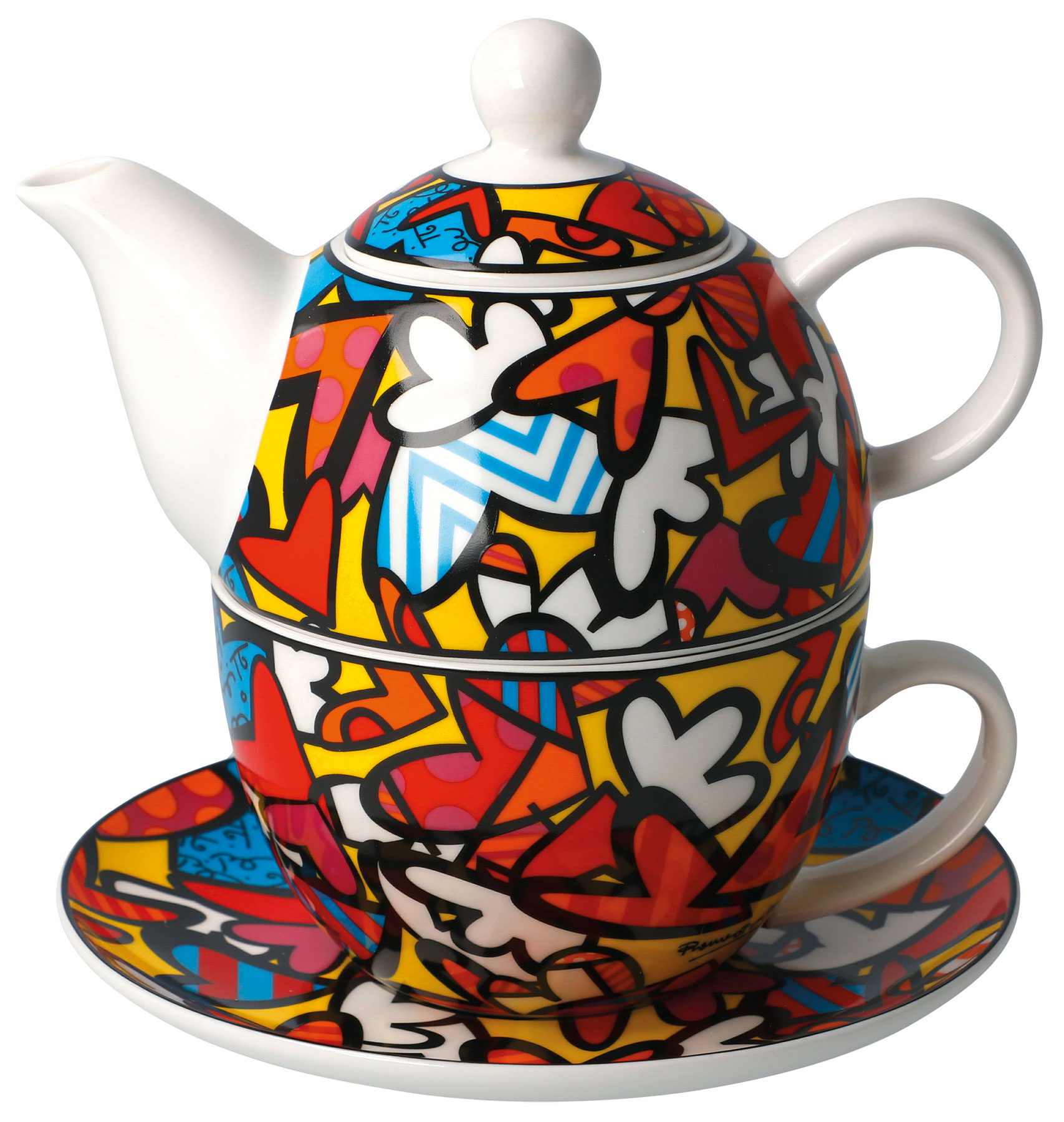 "Teekanne mit integrierter Tasse ""All we need is love"", Porzellan"