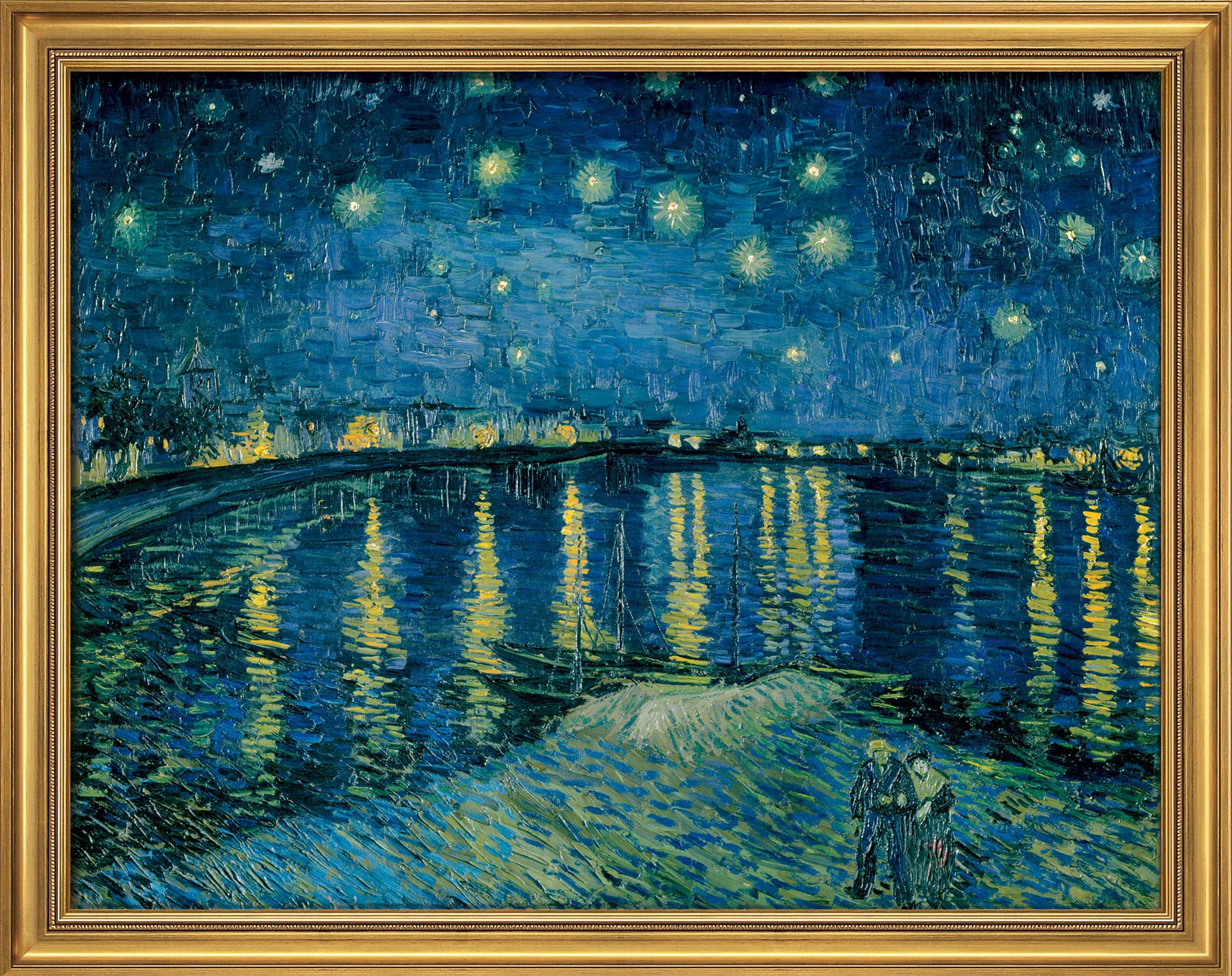 Vincent van Gogh: Bild 'Sternennacht über der Rhône' (1888), gerahmt