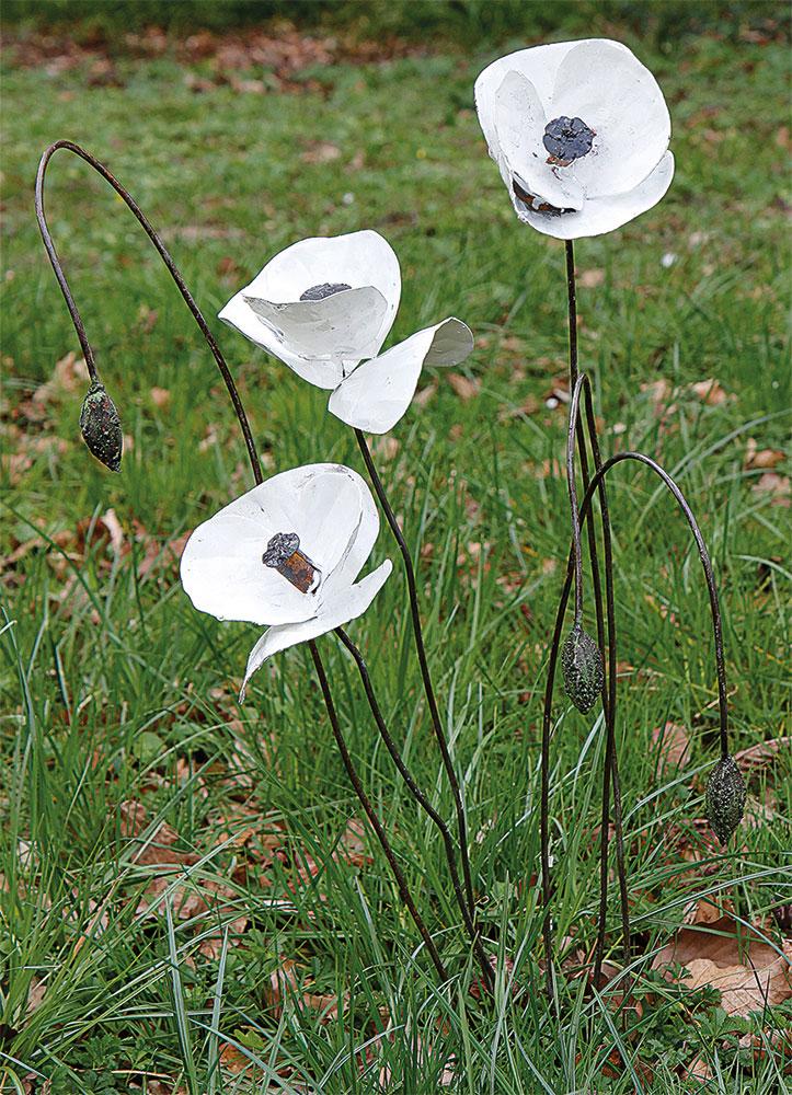 """Gartenstecker-Blumenset """"Weißer Mohn"""", 6-teilig"""