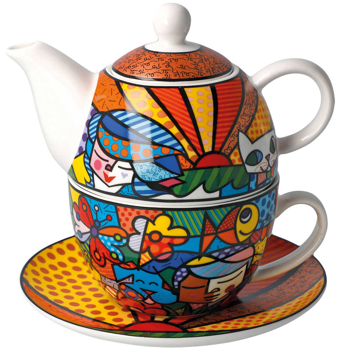 """Teekanne mit integrierter Tasse """"Garden"""", Porzellan"""