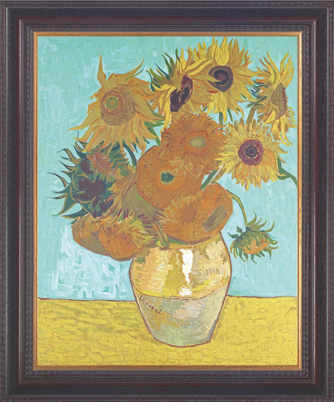 Vincent van Gogh: Bild 'Vase mit Sonnenblumen' (1888), gerahmt
