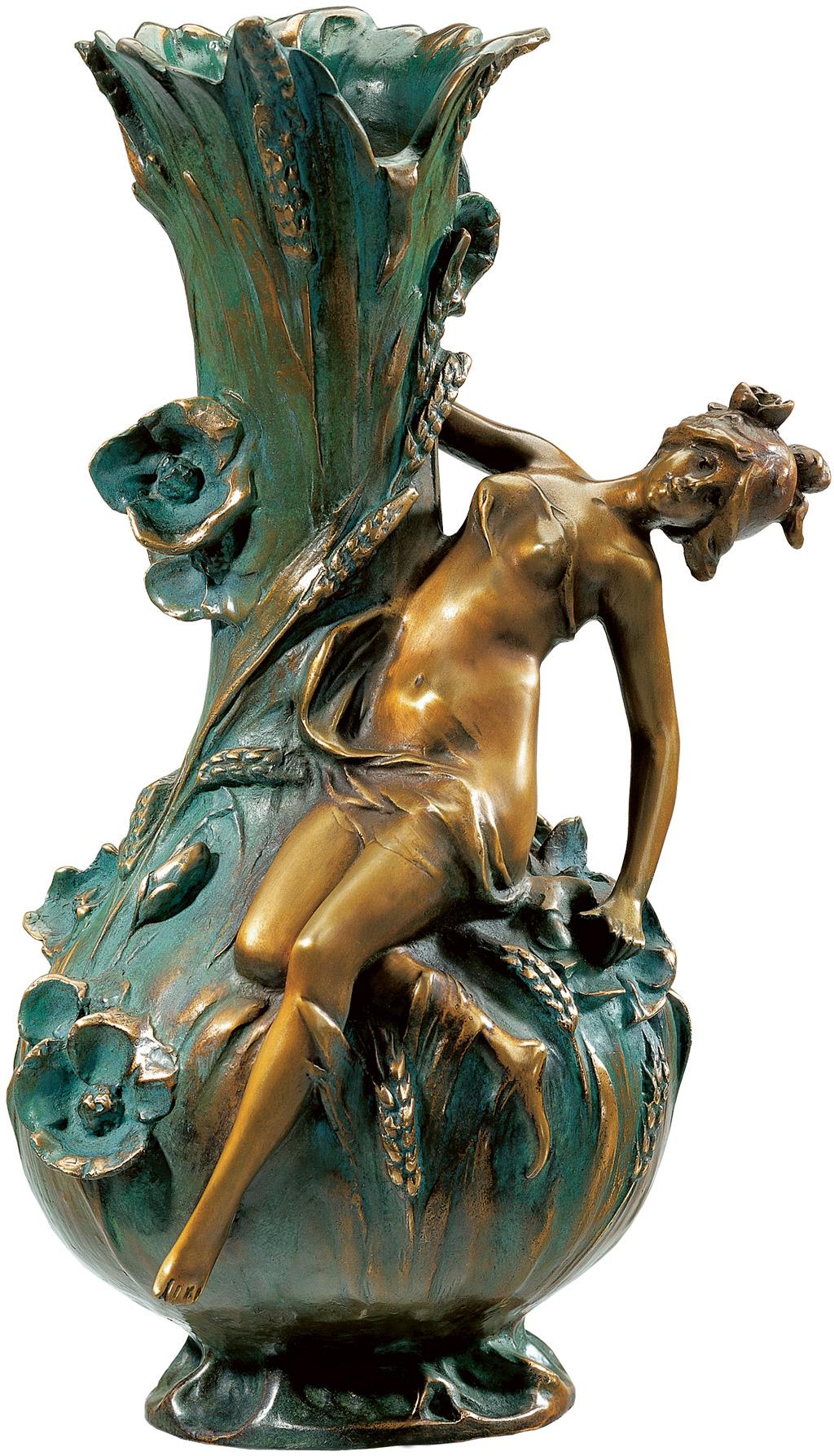 """Vase """"Coquelicot"""", Version in Bronze (antikgrün)"""