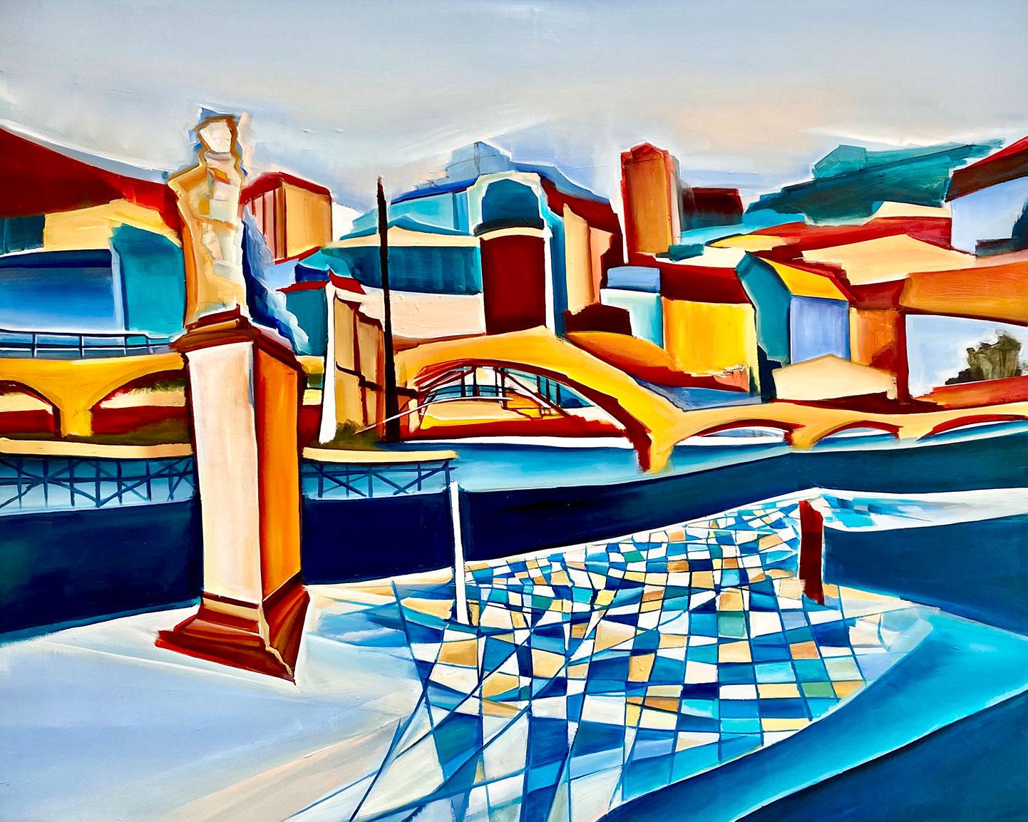 Christin Lutze: Bild 'Brücke in Heidelberg' (2020) (Original / Unikat), auf Keilrahmen