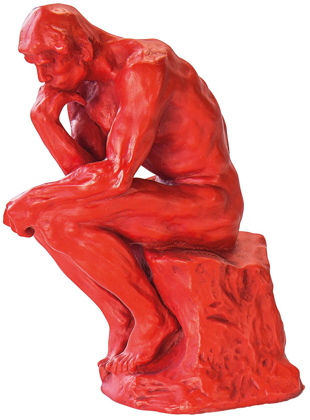 "Skulptur ""Der Denker"" (26 cm), Version in Kunstguss rot"