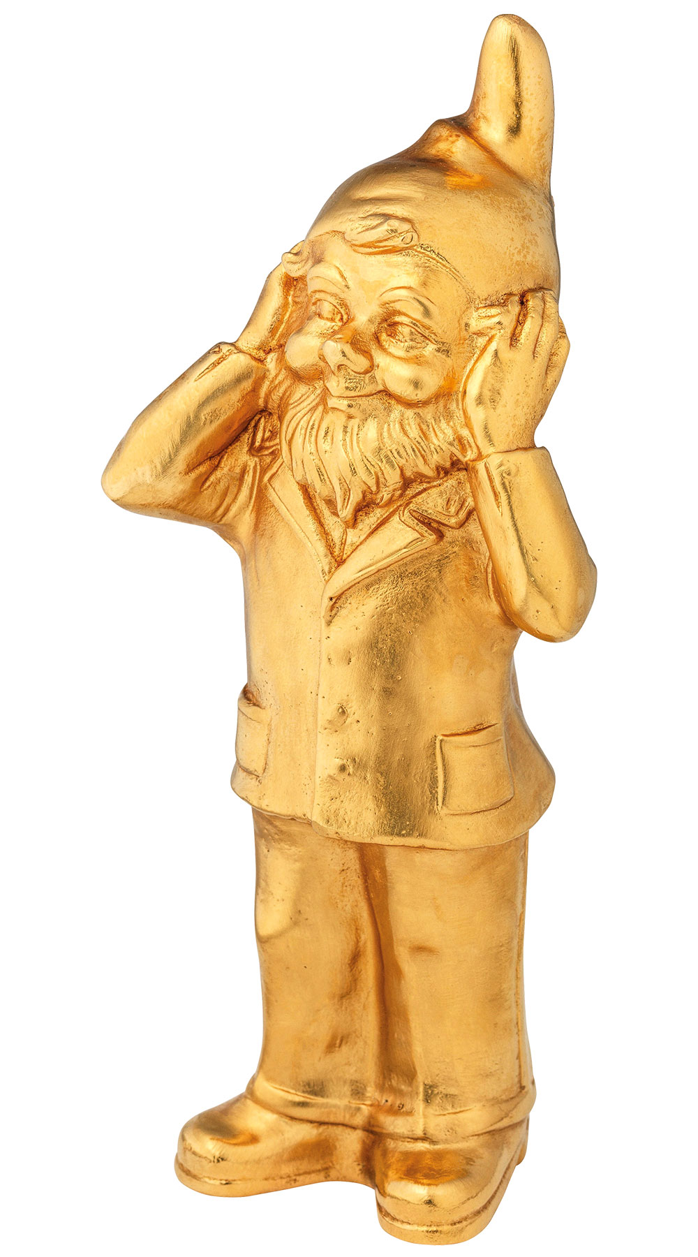 "Skulptur ""Geheimnisträger - Nichts hören"", Version vergoldet"