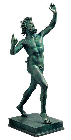 """Skulptur """"Fauno Danzante aus Pompeji"""" (Reduktion), Metallguss"""