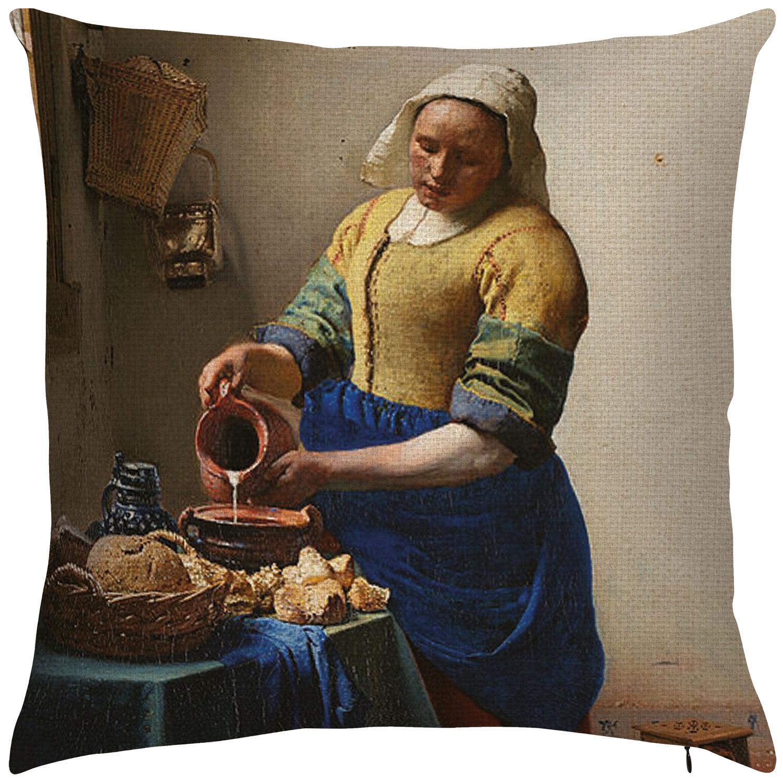 """Kissenhülle """"Dienstmagd mit Milchkrug"""" (1658)"""