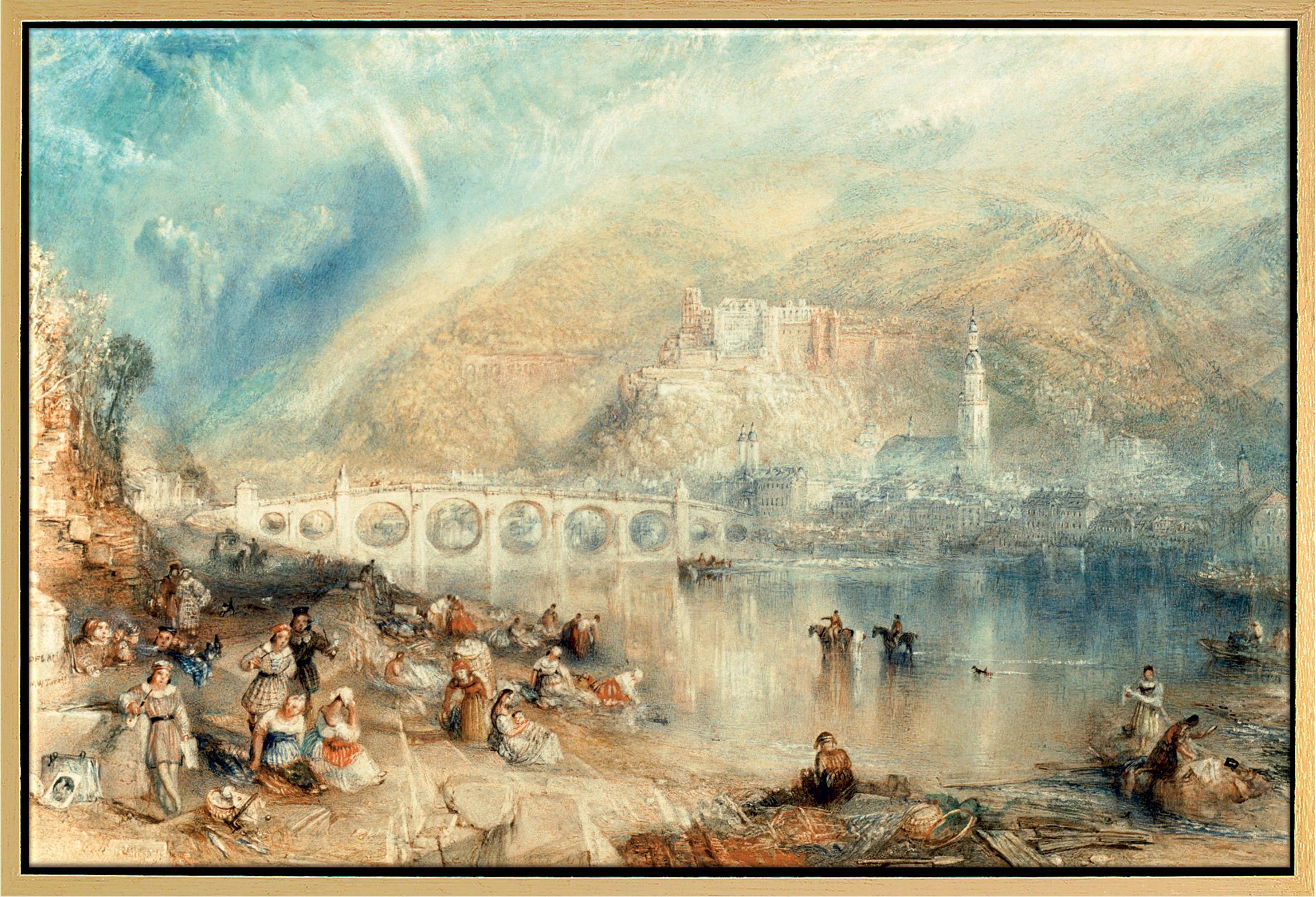 """Bild """"Heidelberg mit einem Regenbogen"""" (um 1841), gerahmt"""