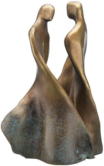 Maria-Luise Bodirsky: 2-teilige Skulptur 'Tanzendes Paar', Bronze