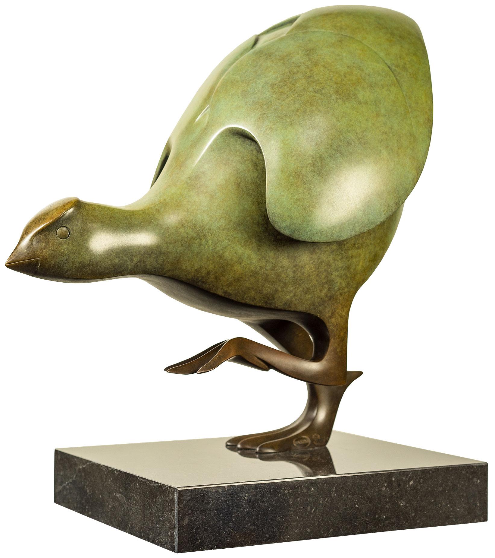 """Skulptur """"Wasserhuhn Nr. 2"""", Bronze grün"""