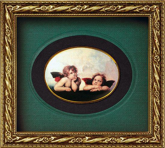"""Miniatur-Porzellanbild """"Engel der Sixtinischen Madonna"""", gerahmt"""