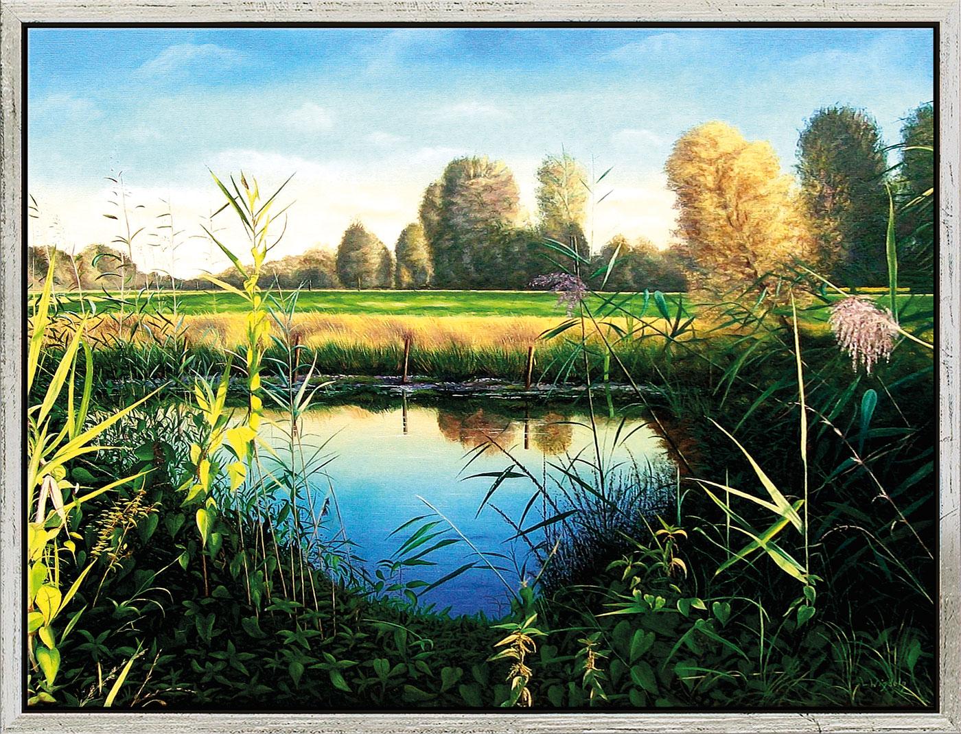 """Bild """"Herbsttag an der Rur"""" (2012) (Original / Unikat), gerahmt"""