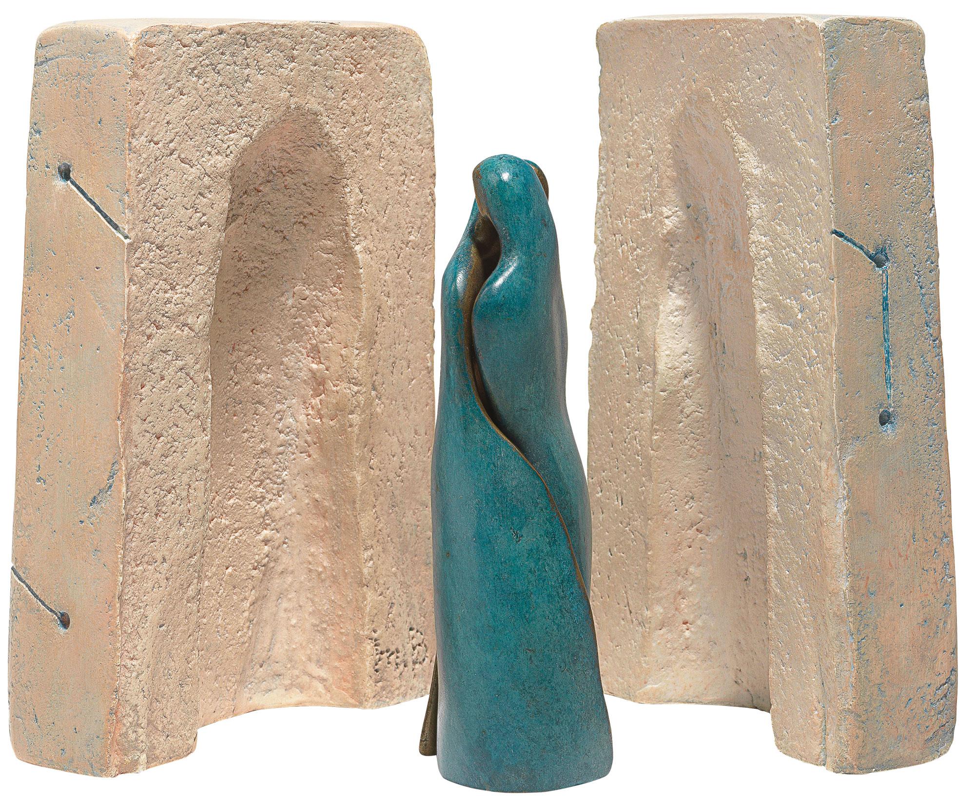 """Skulpturengruppe """"Beziehungskiste"""", Bronze und Steinguss"""