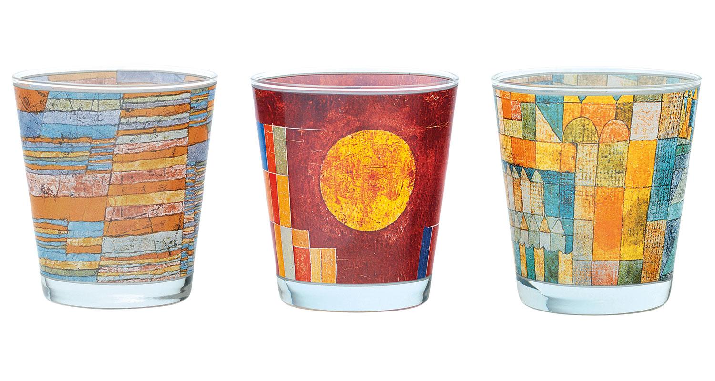 3 Glas-Windlichter mit Künstlermotiven im Set
