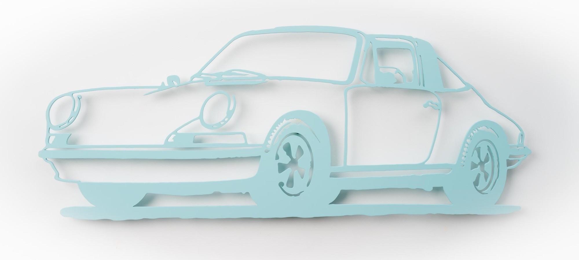 "Wandobjekt ""Porsche 911 Targa (hellblau)"" (2021) (Unikat)"