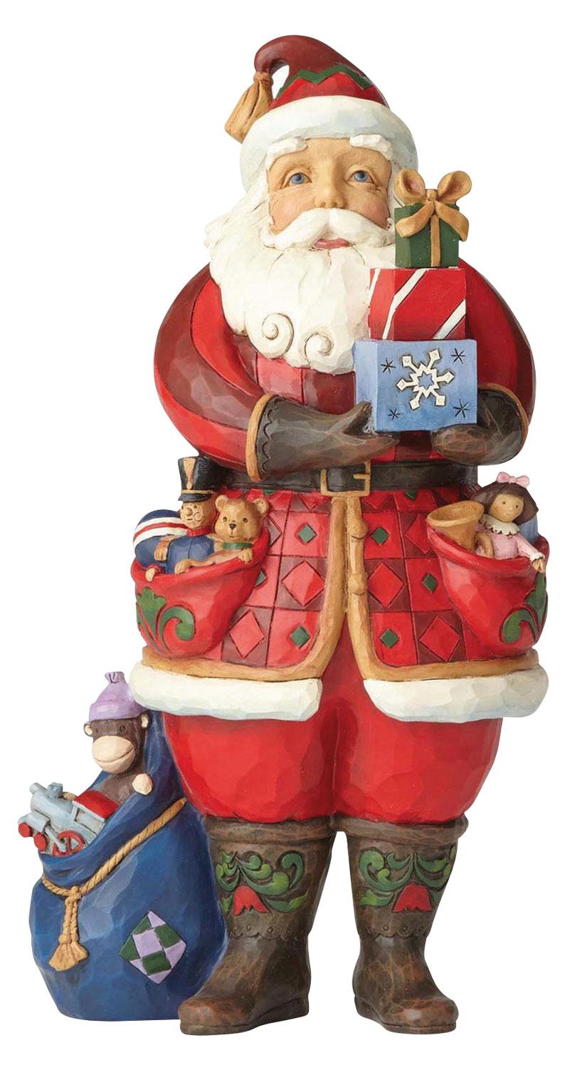 """Skulptur """"Weihnachtsmann Holding Present"""", Kunstguss"""