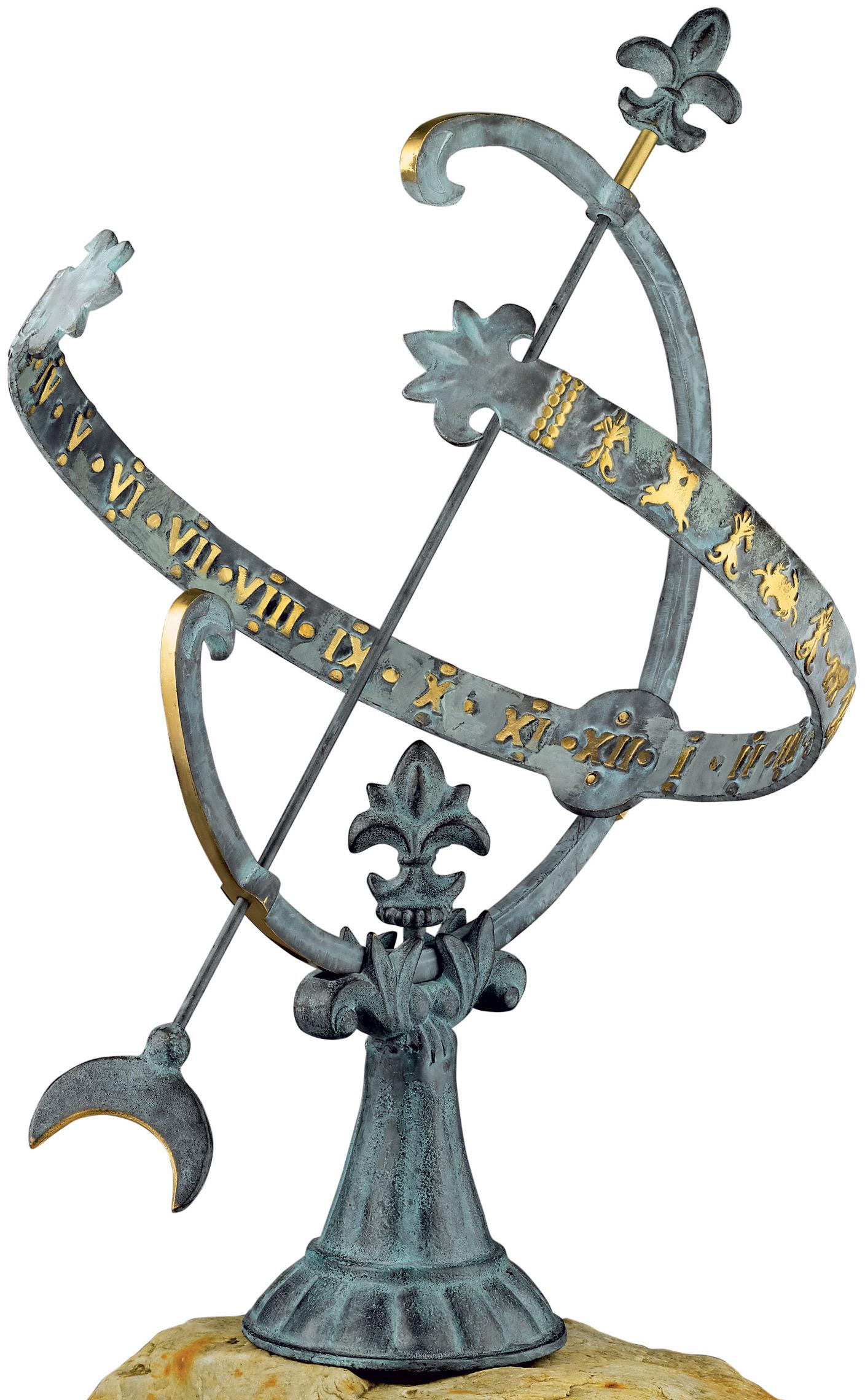 """Sonnenuhr """"Versailles"""" aus Bronze, patiniert/teilpoliert"""