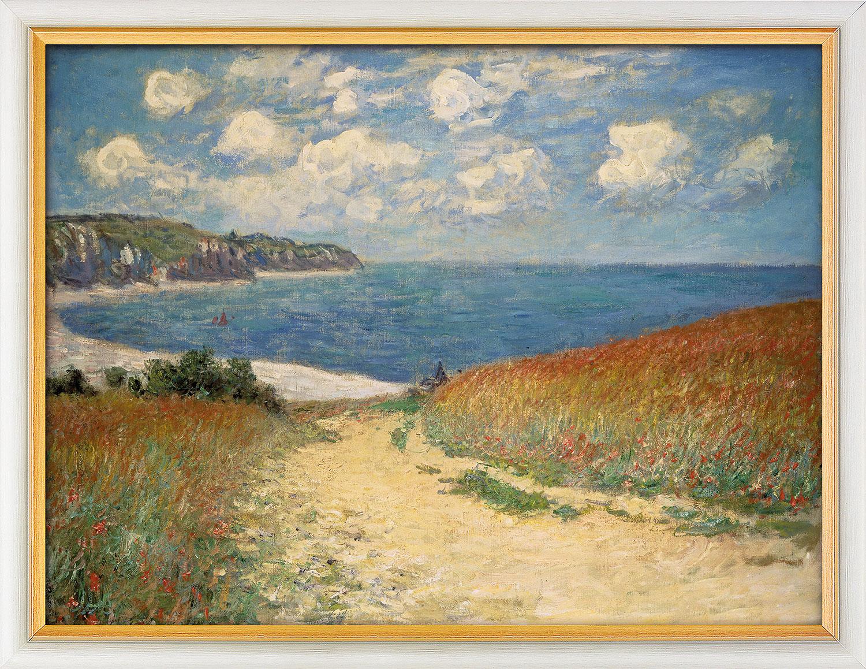 """Bild """"Strandweg zwischen Weizenfeldern nach Pourville"""" (1882), gerahmt"""