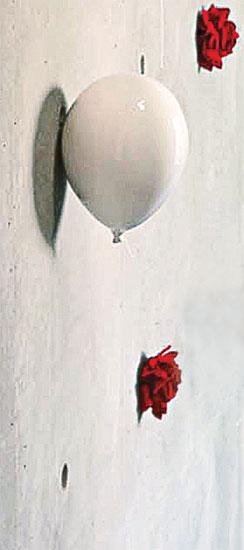"""Wandobjekt """"Ballon weiß"""", Keramik"""