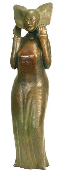 "Skulptur ""Flügelhaube"", Bronze"