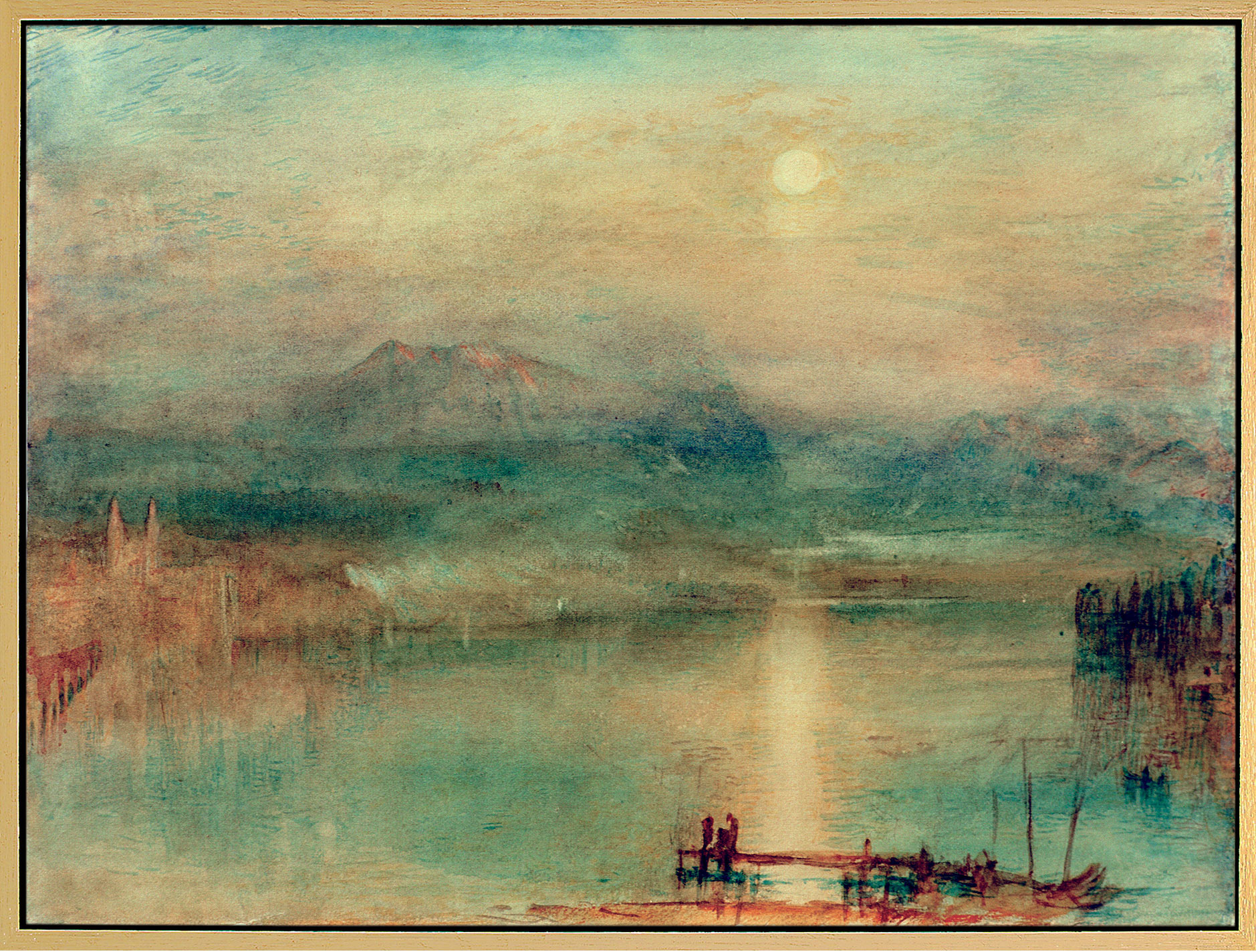 """Bild """"Mondschein über dem Vierwaldstätter See"""" (um 1841-44), gerahmt"""
