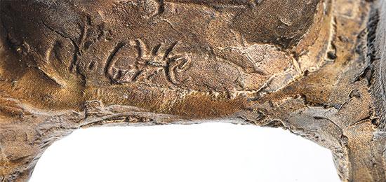 """Skulptur """"In Gedanken an Dich"""", Version Bronze goldfarben"""