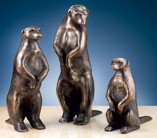"""Skulpturen """"Erdmännchen I-III"""" im Set, Bronze"""