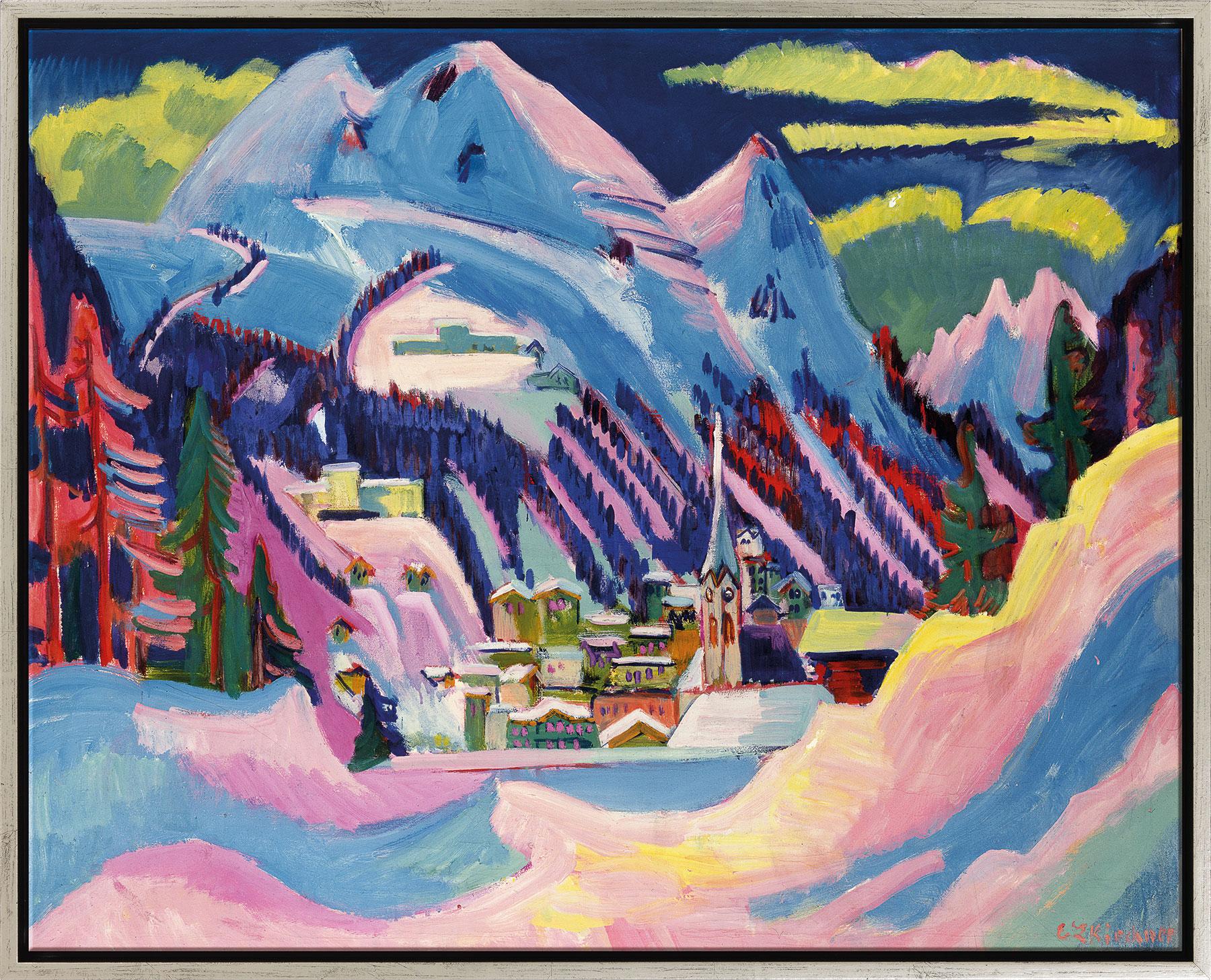 """Bild """"Davos im Winter"""" (1923), Version silber gerahmt"""