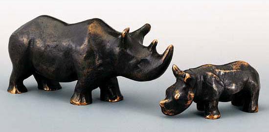 """2 Skulpturen """"Nashorn-Mutter und -Kind"""" im Set, Bronze"""